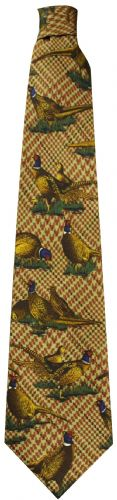 Bisley Silk Tie - Brown Large Pheasants (JR-BIT26)